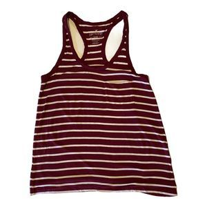 AEO Soft & Sexy Maroon Striped Racer Back Tank S